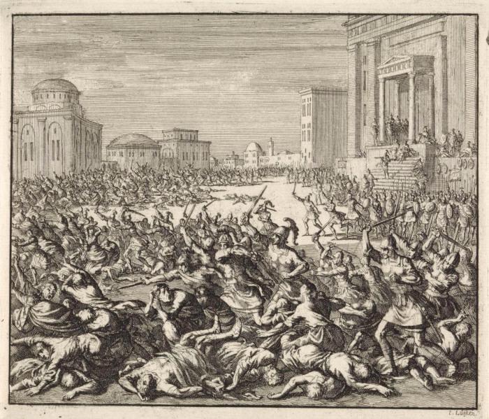 Император Феодосий I приказал убить семь тысяч жителей города, Ян Лёйкен, 1701 год. \ Фото: rijksmuseum.nl.