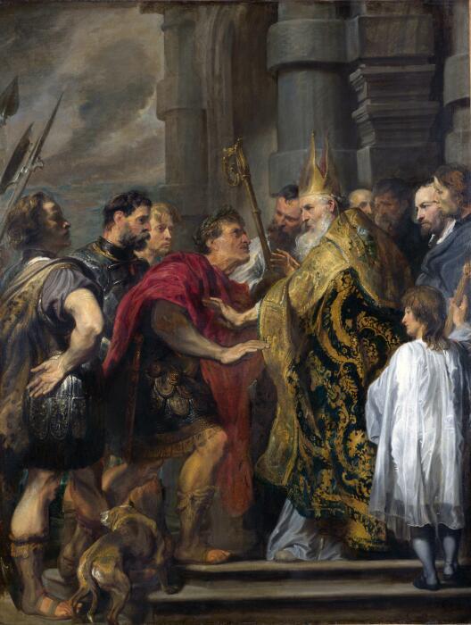 Святой Амвросий, запрещающий Феодосию посещать Миланский собор, Сэр Антонис ван Дейк, 1619-20 гг. \ Фото: duseahvezdy.cz.