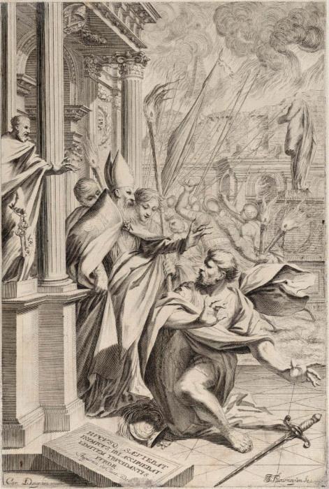 Святой Амвросий, отталкивающий императора Феодосия, Иоганн Якоб Турнейсен Старший, 1652-1711 гг. \ Фото: metmuseum.org.