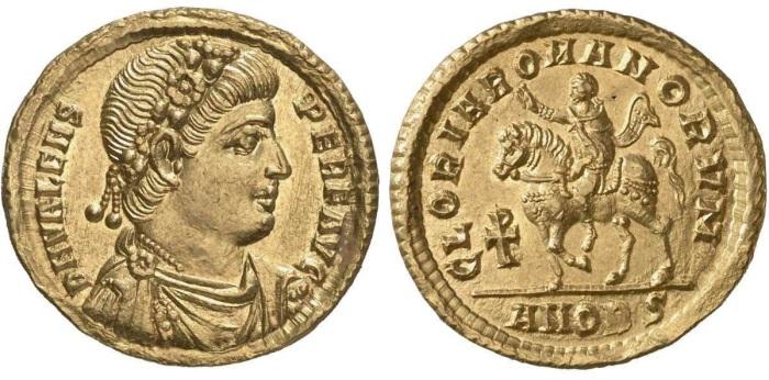 Золотые солиды императора Валента с реверсивным конным портретом императора, с. 367-75 гг. \ Фото: ikmk.smb.museum.
