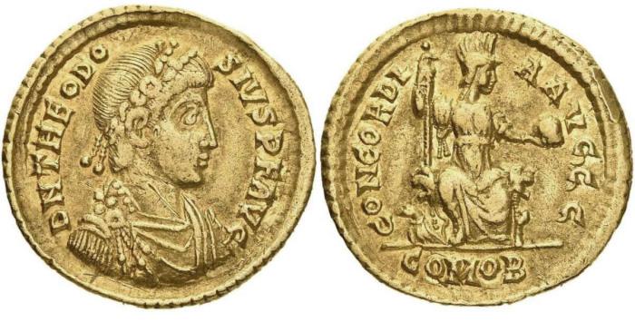 Золотая монета солидус Феодосия I с изображением персонификации Константинополя на реверсе, с. 388-93 гг. \ Фото: google.com.