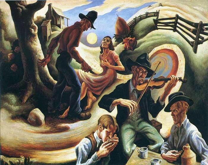 Баллада о ревнивом любовнике из Одинокой Зеленой долины, Томас Харт Бентон, 1934 год. \ Фото: boneandsickle.com.