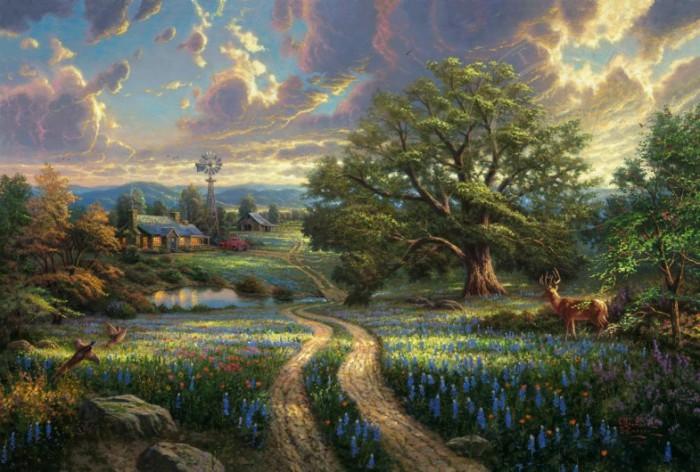 Великолепный пейзаж. Автор: Thomas Kinkade.
