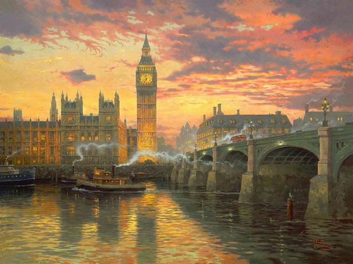 Красноречивый Лондон. Автор: Thomas Kinkade.