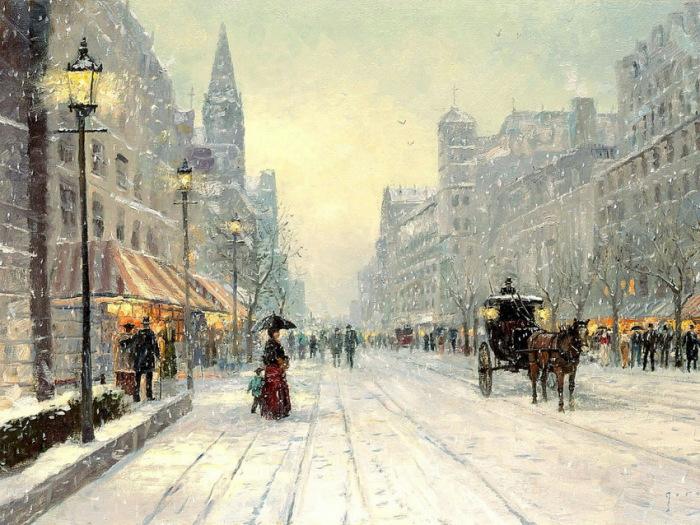 А снег кружиться... Автор: Thomas Kinkade.