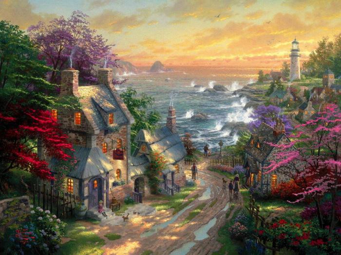 Дом на берегу моря и пенных волн. Автор: Thomas Kinkade.