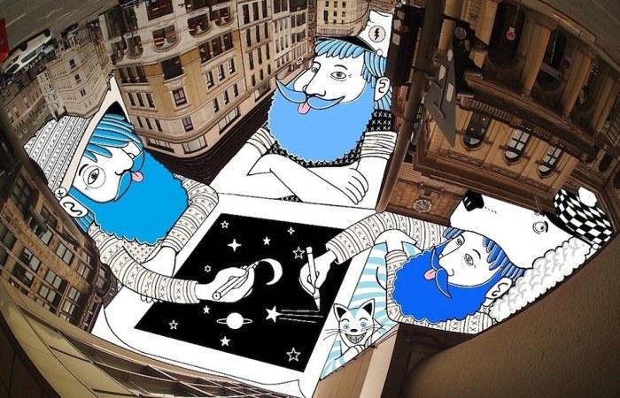 Сюрреал: три персонажа рисуют собственные иллюстрации в кадре с перевернутым небом. Автор: Thomas Lamadieu.
