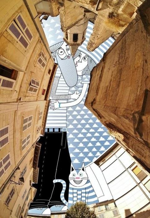 Чеширский кот: рисунок пары с ухмыляющейся кошкой. Автор: Thomas Lamadieu.
