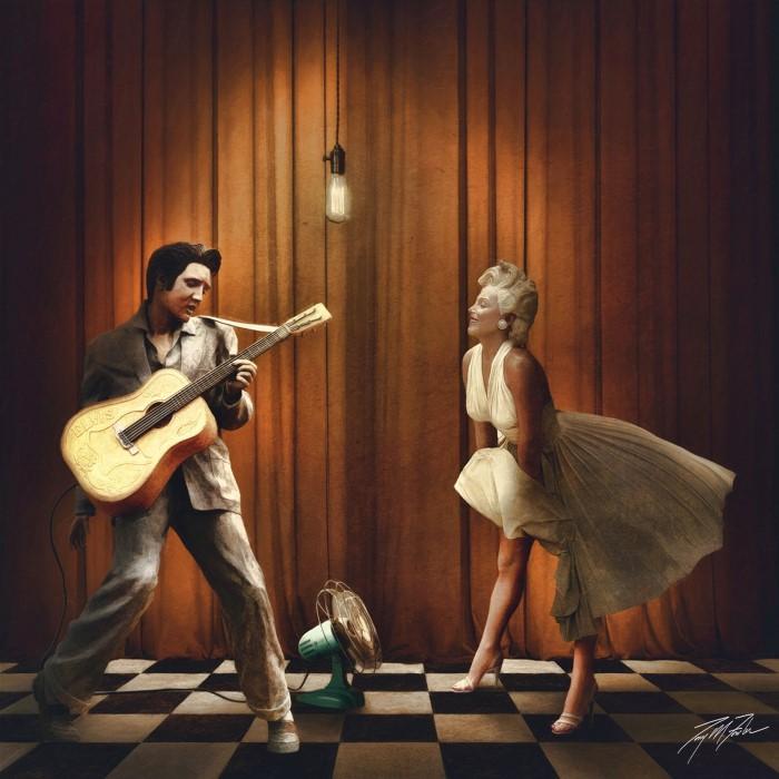 Элвис Пресли и Мэрилин Монро. Автор: Tony Fowler.