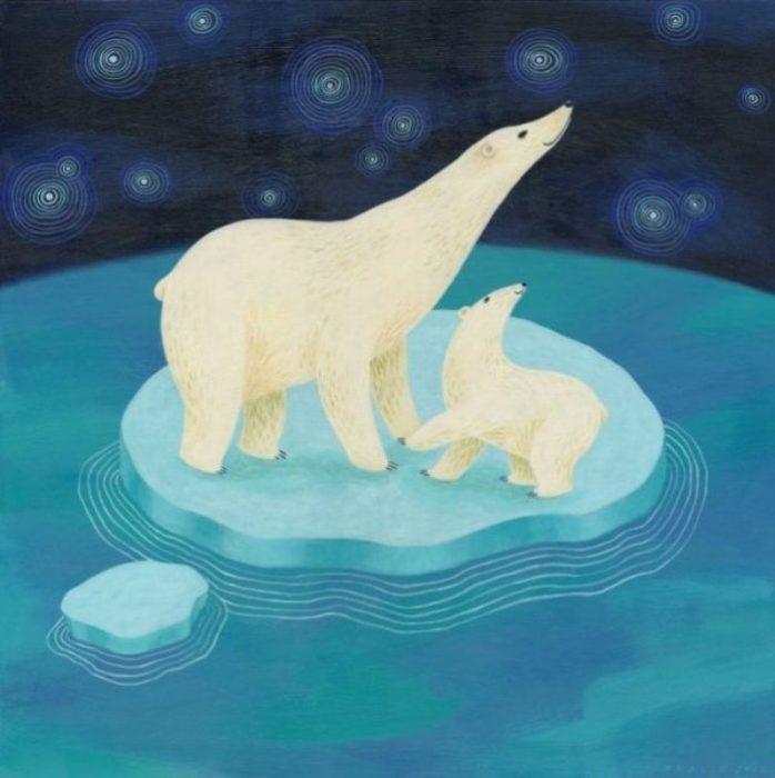 Белые медведи на льдине. Автор: Tracie Grimwood.