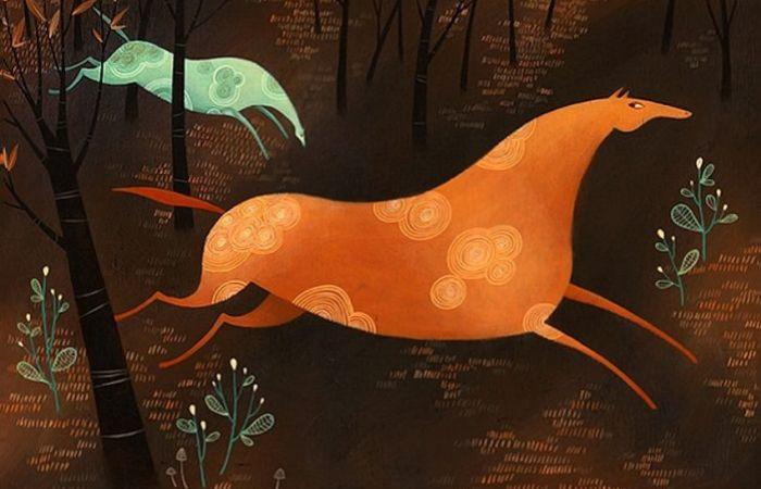 Разноцветные лошадки в волшебном лесу. Автор: Tracie Grimwood.