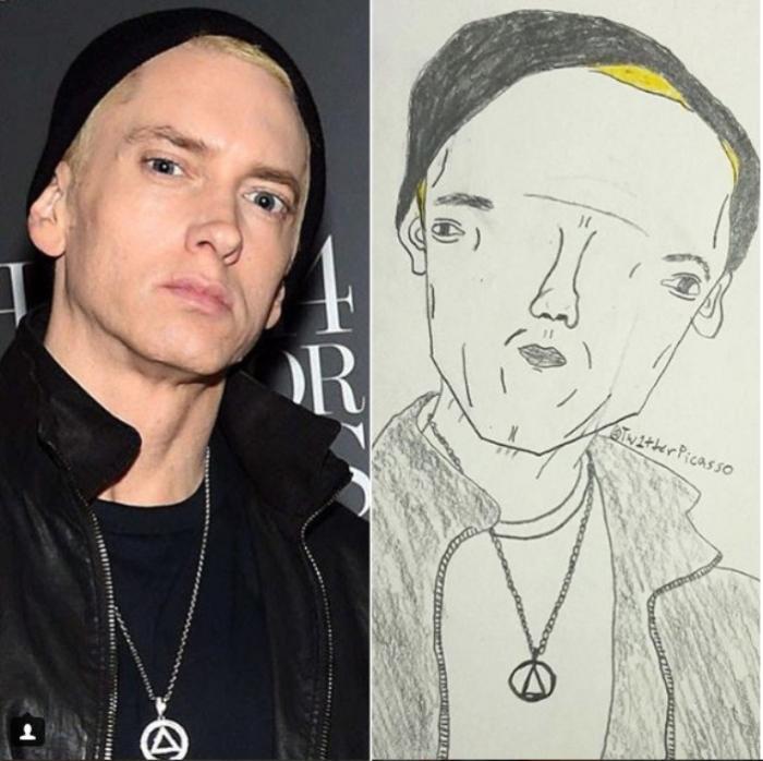 Маршалл Мэтерс, более известный под сценическим псевдонимом Eminem и альтер-эго Слим Шейди — американский рэпер, музыкальный продюсер, композитор и актёр. Автор: Twitter Picasso.