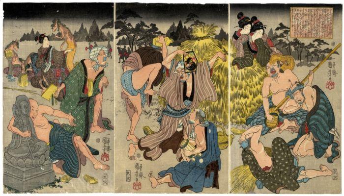 Ради саке: триптих с группой лисиц, которые выглядят как люди, и участвуют в дикой вечеринке под покровом темноты, XIX век. Автор: Утагава Куниёси.
