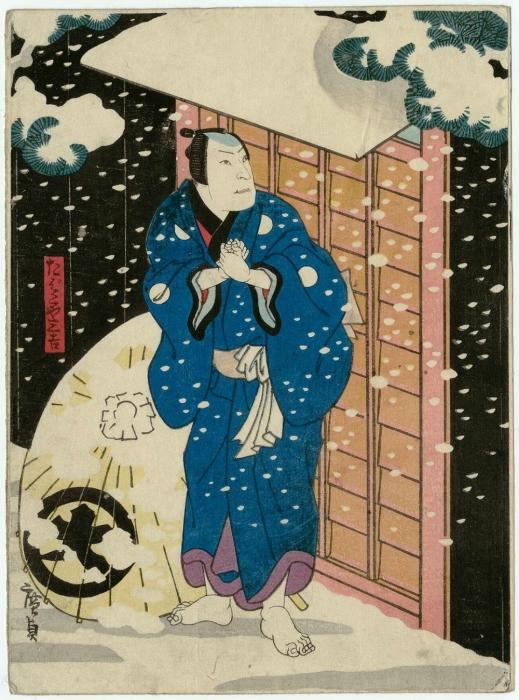 Актёр Дзицукоа Энзэбуру в образе торговца табаком Сэнкичи, 1854 год. Автор: Утагава Хиросигэ.