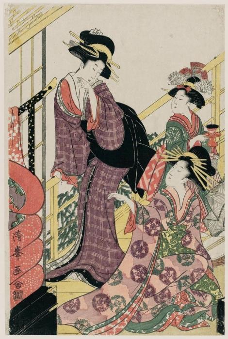 Куртизанка с постельными принадлежностями, период Эдо. Автор: Тории Киёмине.