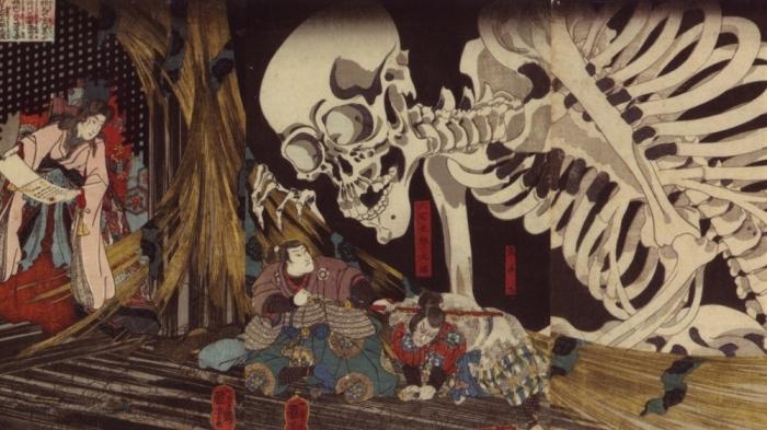 Мицукуни (Отакетаро) бросает вызов скелету-призраку в замке Сома, 1845 год. Автор: Утагава Куниёси.