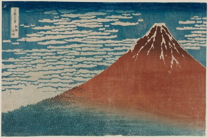 «Южный ветер. Ясный день», или «Красный Фудзи» (из серии «Тридцать шесть видов Фудзи), 1830-31 гг. Автор: Кацусика Хокусай.