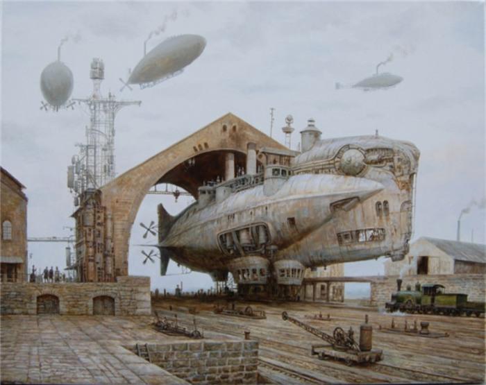 Космический корабль. Стимпанк в картинах Вадима Войтеховича (Vadim Voitekhovitch).