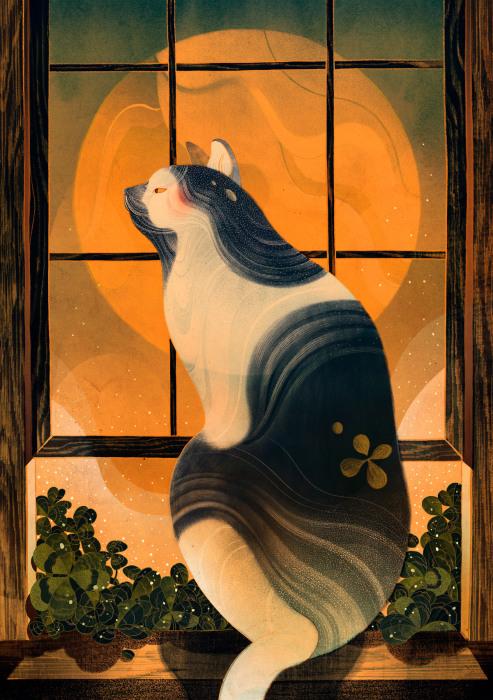 Лунный кот. Автор: Victo Ngai.