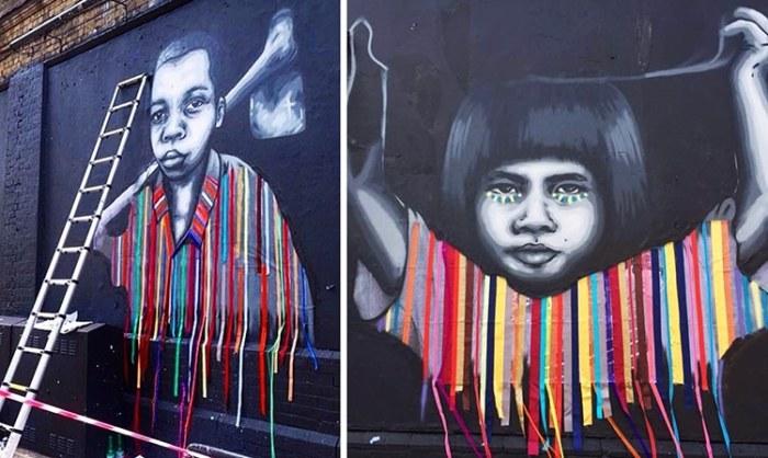 Проект в сотрудничестве с французским уличным художником Забу для сбора средств для детей, Лондон 2016 года. Автор: Victoria Villasana.