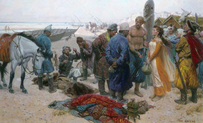 Рабыни и рабы у викингов. \ Фото: pinterest.com.