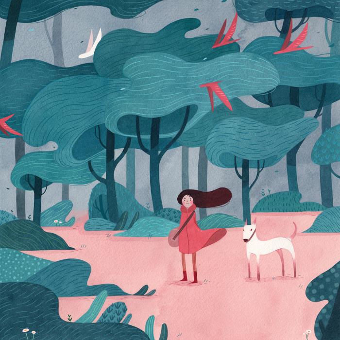 Бирюзовые деревья.  Автор: Vivian Mineker.