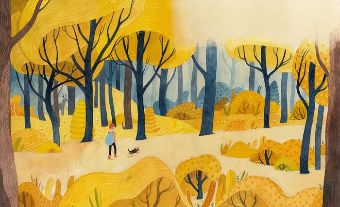 Таинственный осенний лес. Автор: Vivian Mineker.