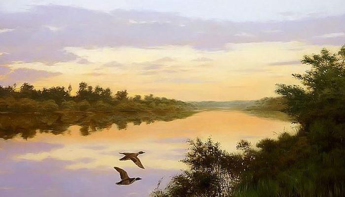 Закат на реке. Автор: Владимир Александров.