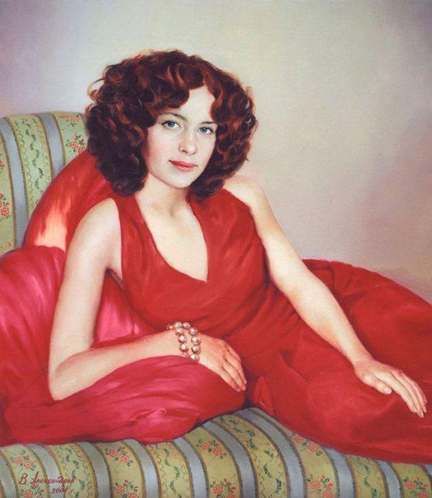 Девушка в красном платье. Автор: Владимир Александров.