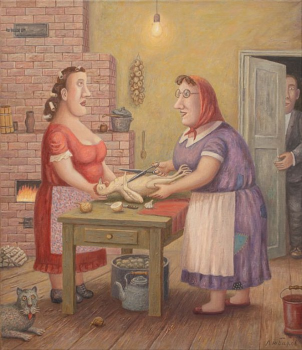 Свекровь учит невестку готовить курицу. Автор работ: Владимир Любаров (Vladimir Lyubarov).