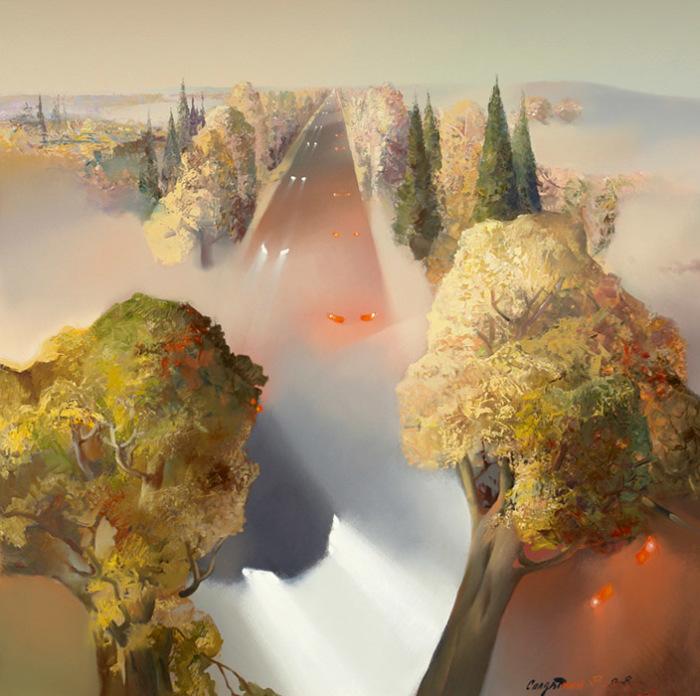Осенняя дорога. Туман. Автор: Владимир Солдтакин.
