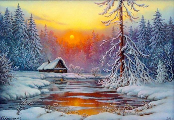 Зимний вечер. Автор: Владимир Княгницкий.