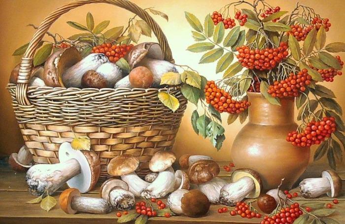 Натюрморт с грибами. Автор: Владимир Княгницкий.