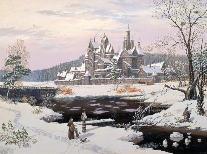 Монастырь у реки. Автор: Всеволод Иванов.