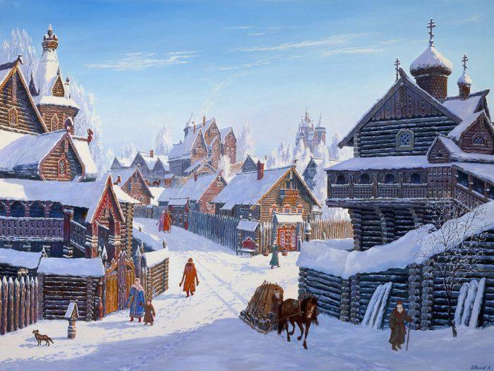 Погожий зимний день в древнерусском городе. Автор: Всеволод Иванов.