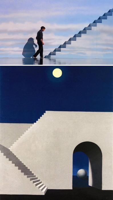 «Шоу Трумана», 1998 год, реж. Питер Уир и «Архитектура при свете луны», 1956 год, Рене Магритт.
