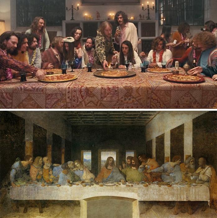 ««Врождённый порок», 2014 год, реж. Пол Томас Андерсон и «Тайная вечеря», 1495–1498 гг.,<br>Леонардо да Винчи.