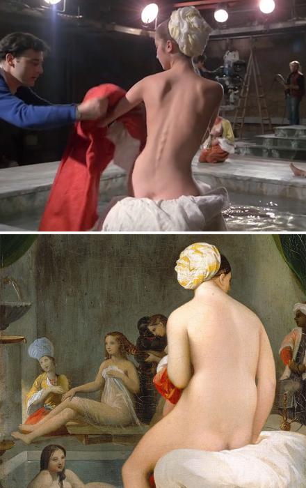 «Страсть», 1982 год, реж. Жан-Люк Годар и «Малая купальщица, интерьер гарема», 1828 год, Жан Огюст Доминик Энгр.