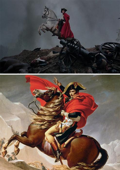 «Мария-Антуанетта», 2006 год, реж. София Коппола и «Бонапарт на Сен-Бернарском перевале», 1801–1805 гг., Жак-Луи Давид.
