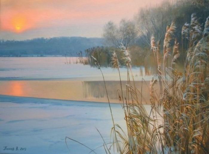 Зимнее озеро. Автор: Вячеслав Палачёв.