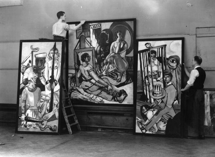 Триптих Макса Бекмана, лондонская галерея Нью-Берлингтон, 1938 год. \ Фото: edition.cnn.com.