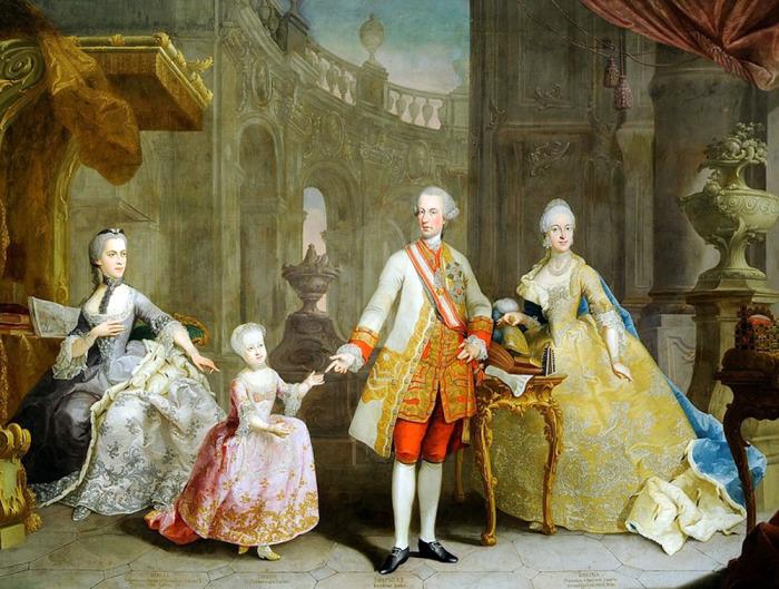 Портрет Иосифа II, его дочери Марии Терезии и двух его жён. Его первая жена и мать его дочери, Изабелла Пармская, сидит слева. Его вторая жена Мария, сидит справа. \ Фото: liveinternet.ru.