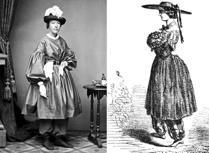Женщины в блумерских костюмах.