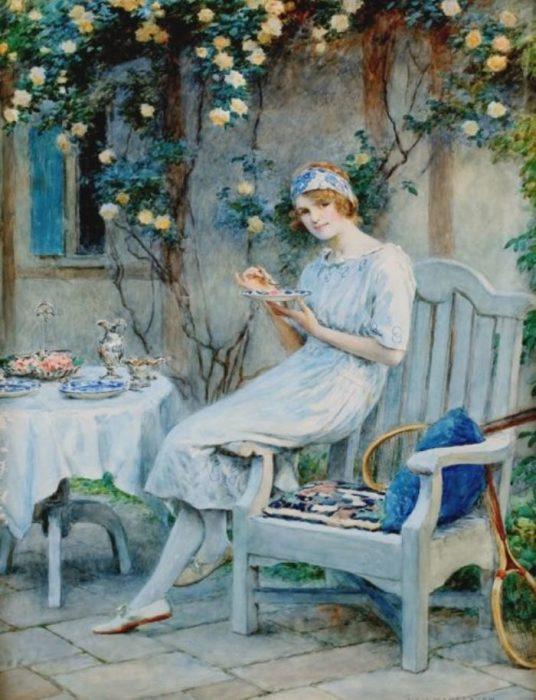 Чаепитие в саду. Автор: William Henry Margetson.