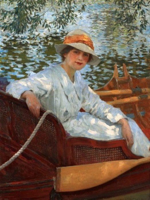 Летом в лодке. Автор: William Henry Margetson.