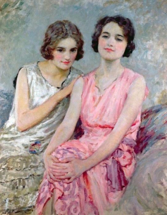 Две сидящих женщины. Автор: William Henry Margetson.