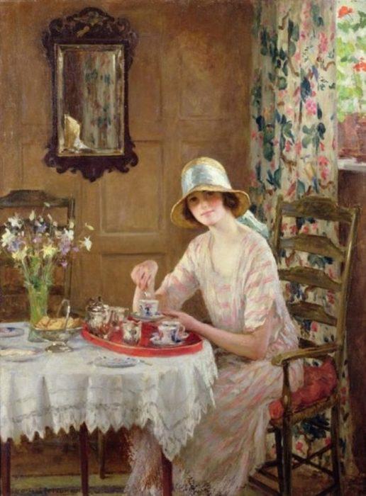 Чашечка чая. Автор: William Henry Margetson.