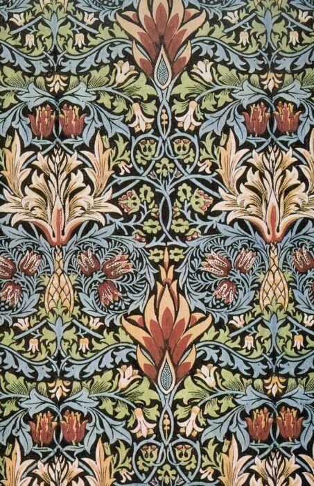 Текстиль с принтом змеиной головы, Уильям Моррис, 1876 год. \ Фото: french.fansshare.com.