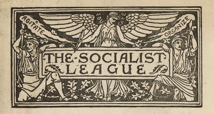 Манифест Социалистической лиги (подробности из дизайна книги), Уильям Моррис и Эрнест Белфорт Бакс, 1885 год. \ Фото: wordpress.com.