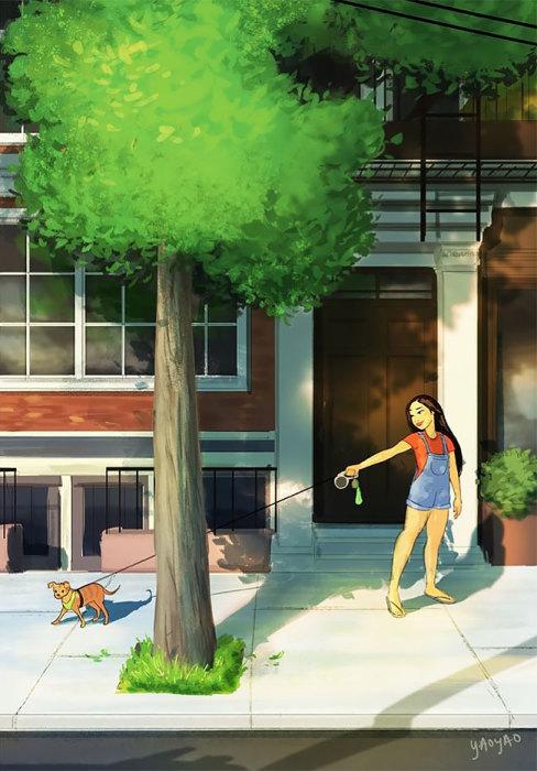 Гулять с собакой. Автор: Yaoyao Ma Van.